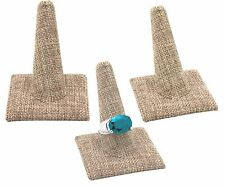 "LOT OF 3 MODERN BURLAP RING DISPLAY STAND JEWELRY RING HOLDER 2 3/8""Tall <DEAL>"