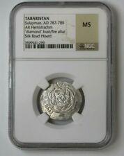 787-789 Tabaristan/Arabia H-drachm 'diamond' bust/fire altar Ngc Ms #74481Jr