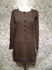 Joules Jersey Dress Size 8 Brown Blue Striped Casual Womens Ladies #632