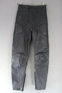 ASHMAN BLACK COWHIDE LEATHER BIKER TROUSERS - WAIST 28 INCH/INSIDE LEG 30 INCH
