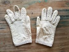 Vintage Cream White Leather Crochet Cotton Gloves Small 6.5