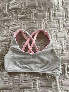 EUC Girl's Size 10 IVIVVA LULULEMON Reversible Gray/Pink Cotton Sports bra top