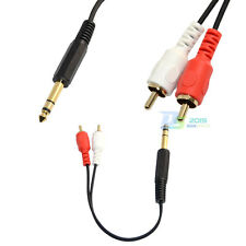 "20cm 8"" 6.35mm ( 1/4"" ) Stereo Male to 2-RCA Male Plug Cable Audio Cable Cord"