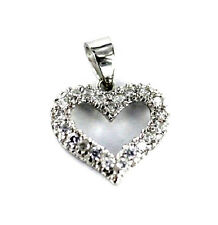 Sterling Silver CZ Heart  - 1/2  Inch Tall   .925 Pure Silver