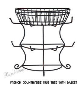 Mikasa Gourmet French Countryside Mug Tree with Storage Basket country Living