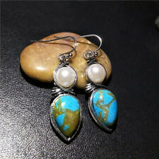 1 Pair Woman Vintage 925 Silver Jewelry turquoise pearl Charm Earring Pendant ~~