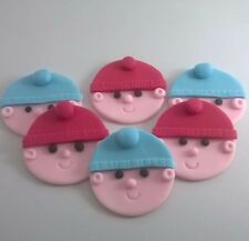 12 Edible Sugarpaste BABY FACE Cupcake Toppers-Baby Shower  Christening