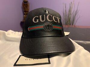 GUCCI Cap Logo in Black Leather, M