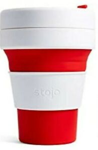 Stojo Collapsible Coffee Cup Size 12 Oz Silicone Travel Mug Red/White NWT
