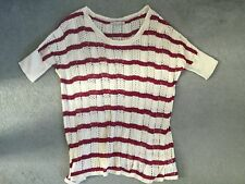 GAP LOOSE KNIT LONG JUMPER IN BEIGE WITH DARK PINK STRIPES & SHORT SLEEVES - XS