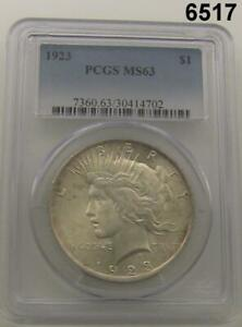 1923 PEACE SILVER DOLLAR PCGS CERTIFIED MS 63 FLASHY #6517