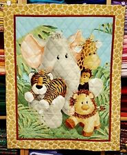"""New Hand Quilted """"Jungle Babies"""" Baby Blanket"""