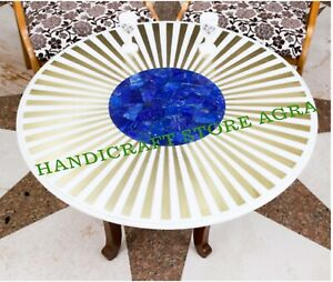 Marble table top Inlaid with Lapis Lazuli & Brass for Dinning & coffee Table