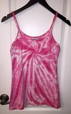 Hard Tail Forever Yoga Pink Tie Dye Tank Fitness Sports Bra Shirt Top Women's M