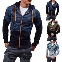 Mens Winter Warm Slim Hoodie Jumper Sweater Zip Up Hooded Sweatshirt Coat Jacket