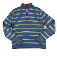 LL Bean Women Small Regular 1/4 ZIP Knit Sweater Top Mock Neck Stripe Blue White