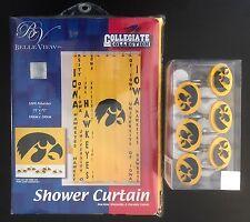 University Of Iowa Hawkeyes Shower Curtain And Rings Bathroom Bath Set