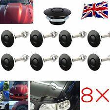 8x Quick Release Bonnet Catch Push Button Hood Pins Latch Protectors Lock Black