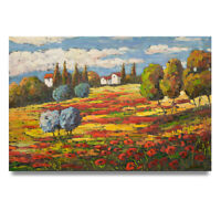 NY Art - Bright & Playful Impressionist Landscape 24x36 Oil Painting on Canvas!