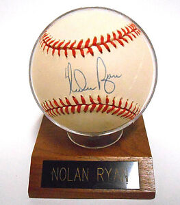 Nolan Ryan Signed Auto Autograph Baseball HOF Ball Holder COA Hologram Rangers