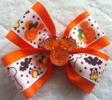 "Girls Hair Bow 4"" Wide Halloween Orange Minnie Flatback French Barrette"
