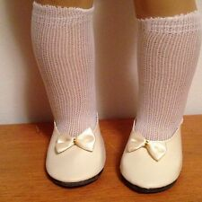 BONE CREAM PRINCESS BOW 18 in doll SHOES & socks fit American Girl