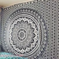 Hippie Mandala Tapestry Indian Bohemian Bedspread Twin Black White Wall Hanging