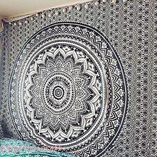 Hippie Mandala Tapestry Indian Bohemian Bedspread Twin Black White Wall Hanging
