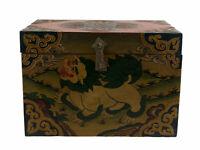 Caja Budista Leopardo De Nieves Tibet 28 CM Artesanía Tibetano 9956