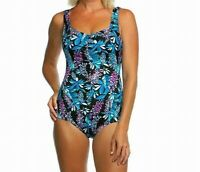 Maxine Of Hollywood Women's Swimwear Blue Size 8 One Piece Swimsuit $49 #640