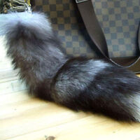 UK_ WO_ EG_ Fox Fur Tail Keyring Key Chain Tassel Handbag Pendant Purse Accessor