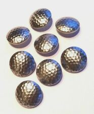 Vintage Buttons - 8 Silver Metal Tone 7/8'' Shank Buttons - United Kingdom
