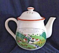 COUNTRY VILLAGE Teapot, Made in Japan, Vintage, Newcor Stoneware