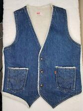 Levi's Mens Denim Vest Jean Jacket Usa Sherpa Fleece Snap Orange Tag Med Pockets