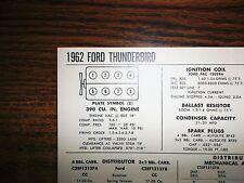 1962 Ford Thunderbird Series Models 390 V8 SUN Tune Up Chart Sheet Great Shape!