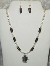 """NEW Handmade 18"""" Necklace & Earrings Genuine Tiger's Eye & White Natural Pearl"""