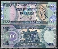 GUYANA 100 DOLLARS P-36 x 1 MAP 2008 CATHEDRAL SIGN 14 UNC MONEY BILL BANK NOTE