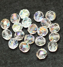 20 SPARKLY CZECH FACETED LUSTER AB FIRE POLISHED 8mm GLASS BEADS CLEAR (BBC2026)