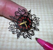 Miniature Lacy Wall Clock, BLACK w/RED Numbers, Metal Hands: DOLLHOUSE 1/12