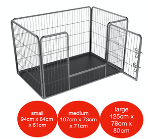 Mr Barker 4pc Dog/Puppy Play Pen Whelping Cage Rabbit Run with optional bed