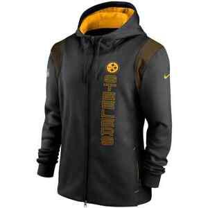 New 2021 NFL Pittsburgh Steelers Nike Sideline Team Performance Full-Zip Hoodie