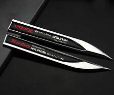 2pcs 3D Metall Auto Fenders Schriftzug Aufkleber Emblem für Dolch Schwarz Turbo