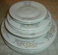 VINTAGE 12 PC PORCELAIN CHINA~PANSY~FLOWER~DINNERWARE~RETRO~FREE SHIP~SUPER RARE