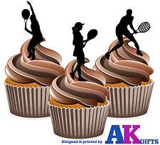 12 x TENNIS COPPA commestibili decorazioni per torta silhouette femminile giocatori di tennis donna mix
