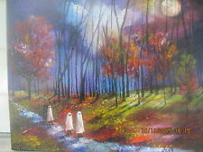 Moonlit Folk Art Halloween Haunted 3 Ghost Under the Moon Lizzy Rainey