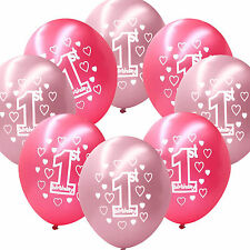 "10 Pink Girl's 1st Birthday Party Decoration Printed 11"" Latex Balloons"