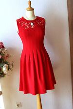 H&M toll geschnittenes Cocktail-Kleid 38 Creppe Guipure 50er Stil Rot