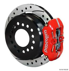 """Wilwood Rear Disc Brake Kit Small Ford 9"""" w/ 2.5"""" Offset 11"""" Drilled Red Caliper"""