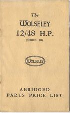 Wolseley  12/48 Series 3 Abridged Parts Price List 1938 UNILLUSTRATED