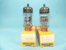 two Philips 12AT7 ECC81 made in Blackburn & same code VF3 B3K1, NOS & NIB tubes